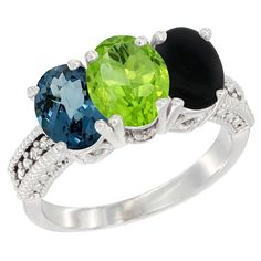 14K White Gold Natural London Blue Topaz, Peridot and Black Onyx Ring 3-Stone 7x5 mm Oval Diamond Accent, sizes 5 - 10 ** Hurry! Check out this great product : Jewelry Ring Bands