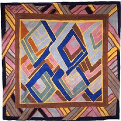 """A rug based on Omega Workshops rug design. """"Founded in 1913 and inspired by fauvism and cubism as well as African art, Omega Workshops created a variety of objects for home interiors ranging from rugs and linens to ceramics and furniture, all featuring bold colours and patterns."""""""