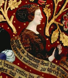 The Triptych with the Babenberg Family Tree Left panel of triptych Right side panel of triptych Images of wives and . Medieval World, Medieval Art, 15th Century Clothing, Monet, Dress Painting, Historical Costume, Historical Dress, Landsknecht, Late Middle Ages