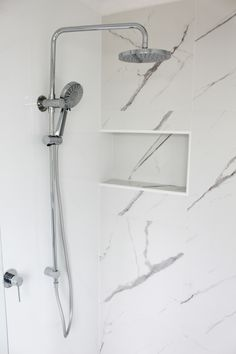 Carrara Tiles - Marble Tiles - Carrara Marble Bathrooms - Shower Box - Shower Recess - White Bathroom - Matt Bathroom Tiles - On the Ball Bathrooms - Perth WA Bathrooms