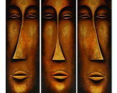Quadro Máscaras Faces Rostos Cod 250