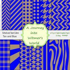 Digital Scrapbook Paper Tan and Blue lack Digital Papers for your Digital Scrapbooking Paper Pack Stash CU Okay
