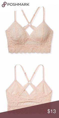 Peach Long Line Lace Bralette Add a bit of romantic whimsy to your undergarment collection. This gorgeous bra offers an intricate lace pattern throughout as well as solid support without need for an underwire.  Feather Peach Color.  Materials: 92% nylon 8% spandex  No trades Xhilaration Intimates & Sleepwear Bras