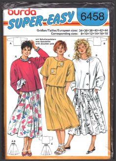 Burda 6458 Top, Skirt Size:  8-10-12-14-16-18 Uncut