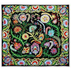 """Bright Floral Silk Suzani I, ·100"""" x 92"""", $495"""