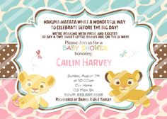 Tiwns Baby Simba Baby Shower Invitations Blue Pink