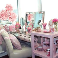 Beauty Room Designs On Our BLOG for makeup organization and beautyroom décor.