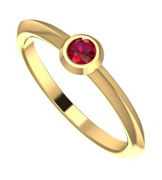 This warm and dainty yellow gold ring will brighten up your day's, its modern band encapsulates a small but dazzling ruby. The burnished ruby setting contrasts the band of the ring making this a very unique and modern design.  #handmade #designer #engagement #rings #NudeJewellery #ruby