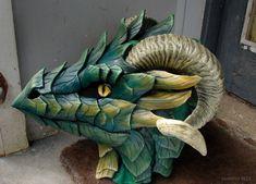 Green leather mask - side view by zarathus on DeviantArt Dragon Fursuit, Fursuit Head, Dragon Mask, Dragon Head, Dragon Pics, Dragon 2, Diy Dragon Costume, Puppet Costume, Dragon Puppet