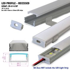 LEDAP-1M-014 - Length: 1M (3.28 ft) *** Can be cut to your specs or joined together seamlessly for longer applications Width: 23.5mm (0.93 in) Recess Area Height: 11mm (0.43 in) w/Diffuser Inner Width: 18.7mm (0.74 in)*** Use with 20mm LED Light Strip or Bar max. Ships as a Kit: 1 (ea) aluminum channel 1 (ea) opal matte diffuser/cover 2 (ea) end caps 2 (ea) mounting clips for aluminum channel installation *** Kit does NOT include the LED Strip Light