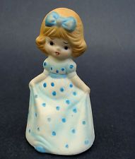 Bell Figurine Curtsy Girl Jasco Maid Blue Polka Dot Dress Bisque Porcelain Vtg