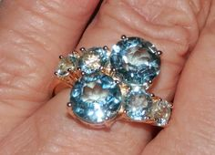 Blue Topaz or Amethyst 6 Stone ring ~~ Size 8 ~~ Technibond w/14K plating #AimeesTreasuresbyHSN #Cluster