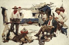 "DEAN CORNWELL ""Who Hired You?"" Oil on Canvas 30″ x 46″"