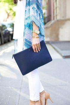blue patterned cardigan