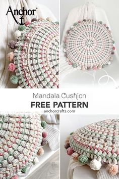 Beautiful and easy to complete crochet round cushion by Marta Porcel from Creativa Atelier. Crochet Pillow Patterns Free, Crochet Mandala Pattern, Crochet Circles, Crochet Round, Afghan Patterns, Square Patterns, Knitting Patterns, Bag Crochet, Crochet Quilt