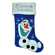 """Disney Frozen Olaf """"Merry Christmas"""" holiday stocking - blue: Decorate your mantel this Christmas season with a cheery Disney Frozen stocking. This 20 inch stocking comes in blue and features Olaf in an outdoor winter scene. Disney Christmas Stockings, Felt Christmas Decorations, Xmas Stockings, Christmas Sewing, Christmas Crafts For Kids, Christmas Holidays, Merry Christmas, Christmas Gifts, Blue Christmas"""