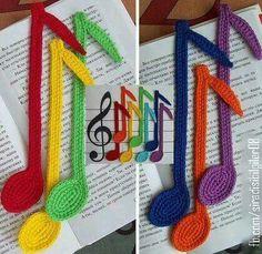Bookmark notes crochet pattern by Zabelina Amigurumi LittleOwlsHut Handmade. Marque-pages Au Crochet, Crochet Music, Crochet Mignon, Crochet Amigurumi, Crochet Books, Love Crochet, Crochet Gifts, Crochet Bookmark Pattern, Crochet Bookmarks