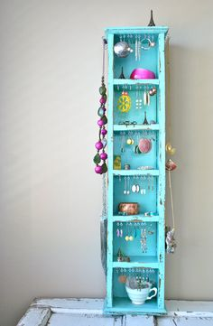 S A LE jewelry organizer, jewelry display: vintage turquoise shelves