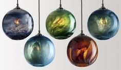 Five illuminated Mineral Pendants in a variety of glass colours