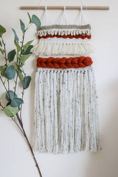 Woven Wall Hanging, Crafty Craft, Wall Hangings, Plant Hanger, Unique Jewelry, Handmade Gifts, Red, Crafts, Etsy