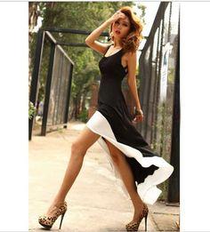 Women  Deep U Neck Bare Back Backless Dress Hem Tank Swallow Tail Sleeveless #Unbranded