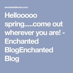 Hellooooo spring.....come out wherever you are! - Enchanted BlogEnchanted Blog