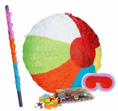 """Beach Ball Pinata Party Pack Including Pinata, Pinata Candy and Toy Filler, Buster and Blindfold by Pinata. $37.55. Includes (1) Beach Ball Pinata; measures approximately 12"""" in diameter. Includes approximately 2 pounds of Candy and Toys. Caution: not recommended for children under 3 years of age. Includes one hard Plastic Pinata Buster that measures approximately 30"""". Caution: use only under adult supervision. Includes one Blindfold with Elastic String. Measures 7"""" long x 5.5..."""