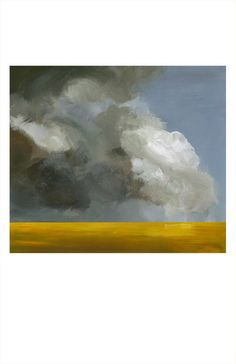 "landscape painting, art, wall decor, abstract, gold, grey-""Field Before the Storm"" archival landscape print"