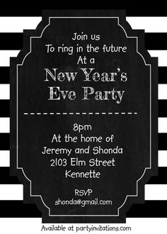 Black and White Stripes new years eve party invitations New Years Eve Invitations, Party Invitations, Catering Halls, Vegas Theme, Casino Party Decorations, Chip Art, Party Guests, New Years Eve Party, How To Memorize Things