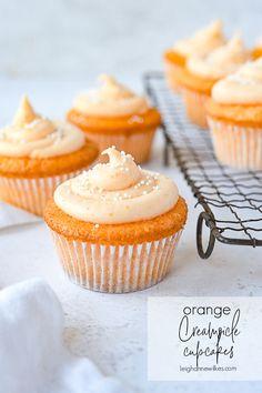 Orange Cupcakes, Orange Frosting, Ice Cream Cupcakes, Ice Cream Treats, Fun Baking Recipes, Cupcake Recipes, Cupcake Cakes, Key Lime Cake, Desserts For A Crowd