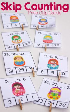 These super cute matryoshka free printable skip counting clip cards are a great… Math Classroom, Kindergarten Math, Teaching Math, Math Games, Math Activities, Skip Counting Activities, Math Resources, Skip Counting By 2, First Grade Math