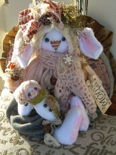 "Primitive Prim Folk Art Snowman Bunny Rabbit Doll "" SNOW"" Must see!! #NaivePrimitive #LeahsWhimsicalcorner THIS SWEET BUNNY IS NOW AVAILABLE ON eBAY!! THANK YOU!!:0)"