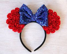 Snow White Mickey Ears, Snow White Ears, Flower Mickey Ears, Princess Mickey Ears, Disney Ears, Minnie Mouse Ears, Snow White, Custom Ears by Ulous on Etsy https://www.etsy.com/listing/253250303/snow-white-mickey-ears-snow-white-ears