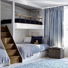 How cute is this set up #bunkbeds #hamptonsstyle #nautical #beachhouse via Pinterest