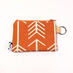 Orange Arrow Zipper Coin Pouch