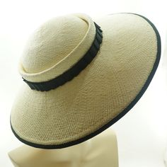 WIDE BRIM HAT   Straw Hat   Panama Hat   Summer Hat   Sun Hat   Wedding  Attire   Garden Party   Ebony and Ivory   The Millinery Shop 40bb0756cfe6