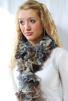 Mocha Brown and Gray Ruffled Scarf Hand Knit in  by AquaLumen, $30.00