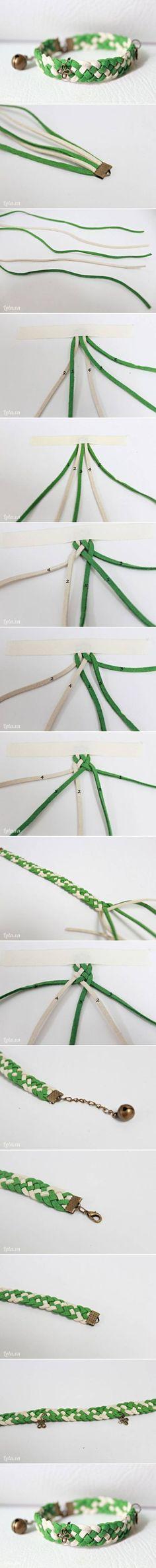 DIY leather braided bracelet Five strand braid