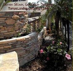 Tampa Landscape Design mediterranean landscape, terraced beds, travertine, outdoor kitchen, pool, spa, pergola, balustrade near Oldsmar.