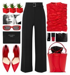 """""""Black And Red"""" by jiabao-krohn ❤ liked on Polyvore featuring Veronica Beard, Mateo, Zara, Gucci, Chanel, Off-White, Acne Studios, ASOS, Mother of Pearl and ruffles"""
