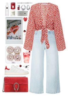 """cherry red"" by s-ensible ❤ liked on Polyvore featuring Bling Jewelry, Current/Elliott, Gucci, adidas Originals, Voluspa, Baxter of California, NYX, Rituals, Brandy Melville and Christian Dior"