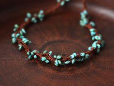 Braun Grün Halskette häkeln Perlen von 100crochetnecklaces auf Etsy