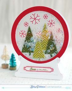 Snow Globe Shaker Card by Betsy Veldman for Papertrey Ink (October 2014)