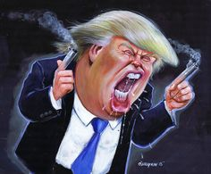 Donald Trump is crazy. We've found 117 of Trump's most unforgettable quotes. Caricature Donald Trump, Donald Trump Art, Donald Trump Funny, Donald Trump Wedding, Funny Caricatures, Celebrity Caricatures, Trump Cartoons, Political Cartoons, Donald Trump Karikatur