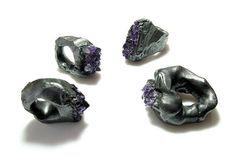 the ugly ugly ..raw amethyst raw rings -      by Neva Balnikova