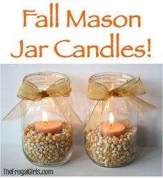 Mason jar DIY craft - tea lights in popcorn. I'm thinking maybe a red candle in…