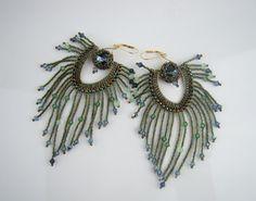 Peacock earrings  seed bead fringe earrings ooak by 7PMboutique, $43.00