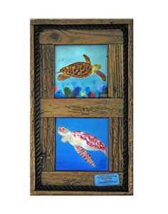 """""""Two Turtles"""" These are two of Nadine's painting put on tiles. The prints are of a """"Hawksbill Turtle"""" which is on top, and a Green Sea turtle which we call """"Sea Dweller"""", on the bottom. The tiles are 4.25"""" x 4.25"""" and are placed in our lobster trap frames. We put an authentic lobster or stone crab tag on the face of the frame. The frame comes with or without rope.  Nadine has done a fabulous job on both these magnificent animals. $59.00"""
