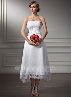 Wedding Dresses - $136.99 - A-Line/Princess Sweetheart Asymmetrical Organza Satin Wedding Dress With Lace Beadwork Sequins (002008177) http://jjshouse.com/A-Line-Princess-Sweetheart-Asymmetrical-Organza-Satin-Wedding-Dress-With-Lace-Beadwork-Sequins-002008177-g8177