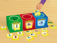 Wh- questions Storyteller's Box at Lakeshore Learning Speech Therapy Activities, Language Activities, Speech Language Pathology, Speech And Language, Teaching Spanish, Teaching English, Learn Spanish, Wh Questions, This Or That Questions